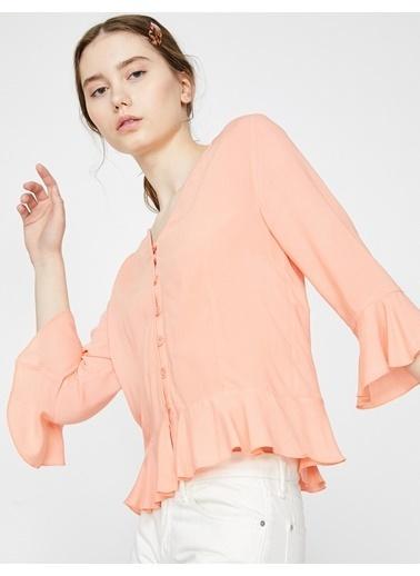 Koton Fırfır Detaylı Gömlek Oranj
